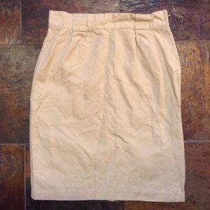 BODEN woven cotton khaki pencil skirt 6 8